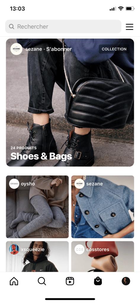 Instagram Shopping nouvelle fonctionnalité